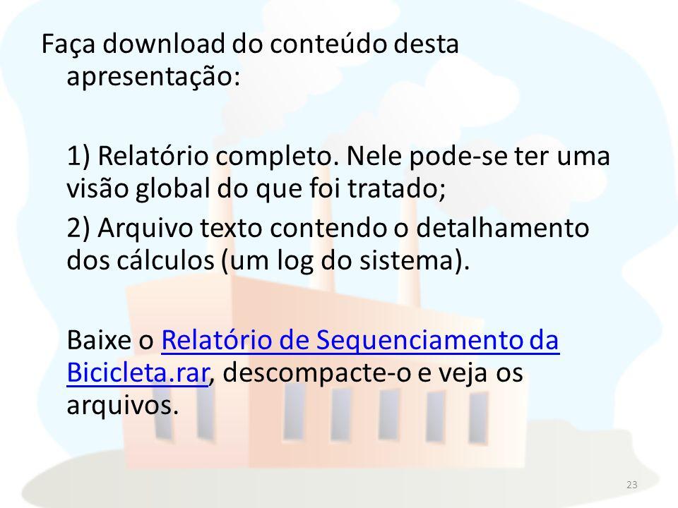 Faça download do conteúdo desta apresentação: 1) Relatório completo.