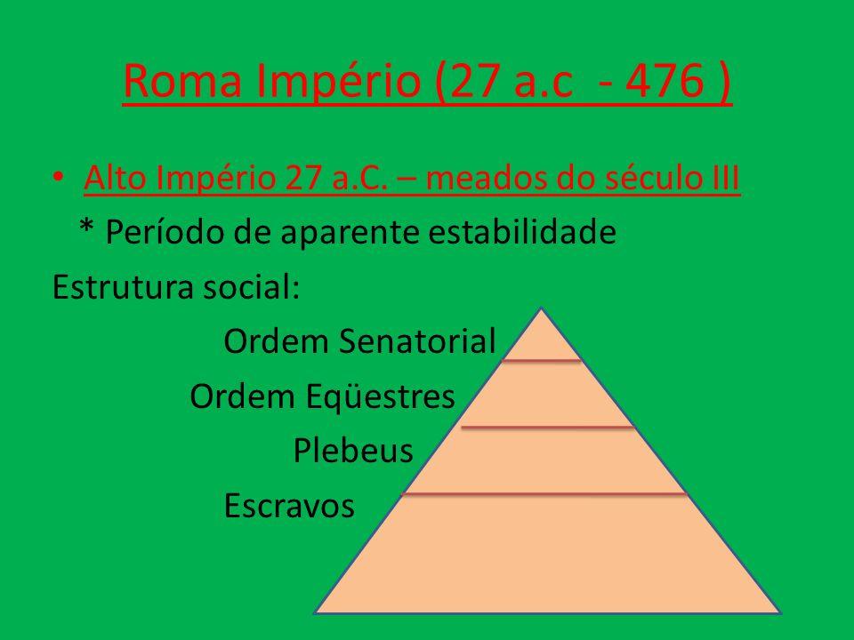 Roma Império (27 a.c - 476 ) Alto Império 27 a.C. – meados do século III * Período de aparente estabilidade Estrutura social: Ordem Senatorial Ordem E