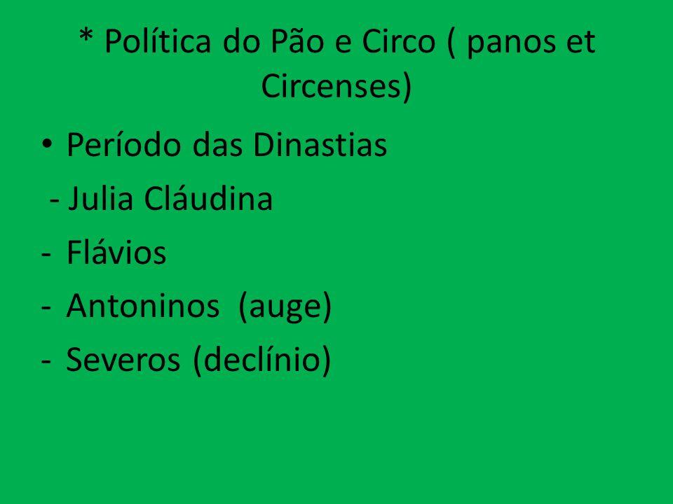 * Política do Pão e Circo ( panos et Circenses) Período das Dinastias - Julia Cláudina -Flávios -Antoninos (auge) -Severos (declínio)