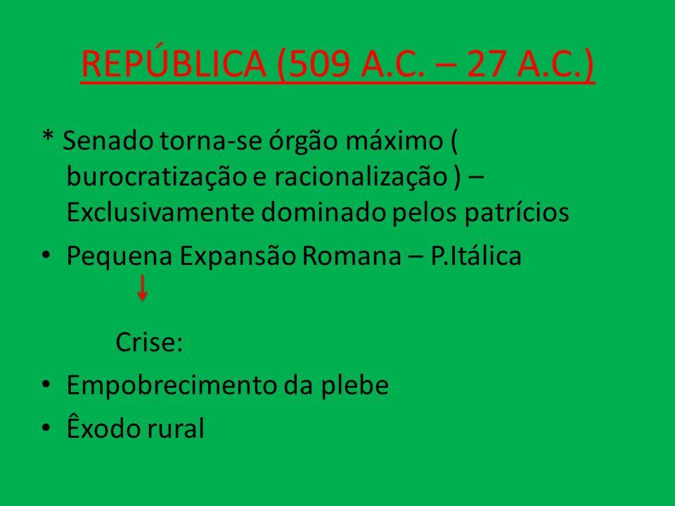 REPÚBLICA (509 A.C. – 27 A.C.) * Senado torna-se órgão máximo ( burocratização e racionalização ) – Exclusivamente dominado pelos patrícios Pequena Ex