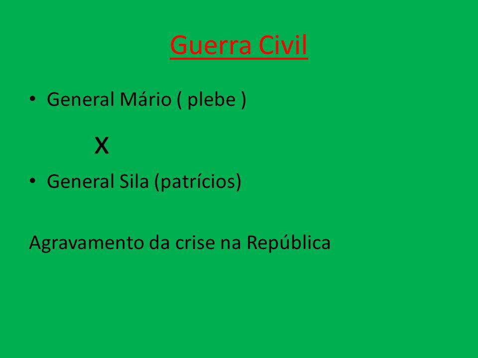 Guerra Civil General Mário ( plebe ) x General Sila (patrícios) Agravamento da crise na República