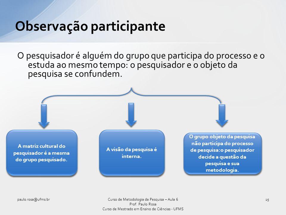 O pesquisador é alguém do grupo que participa do processo e o estuda ao mesmo tempo: o pesquisador e o objeto da pesquisa se confundem.