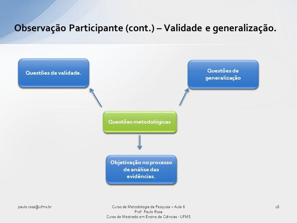 Observação Participante (cont.) – Validade e generalização.