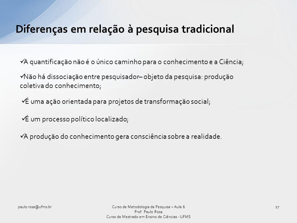 Diferenças em relação à pesquisa tradicional paulo.rosa@ufms.br27Curso de Metodologia da Pesquisa – Aula 6 Prof.