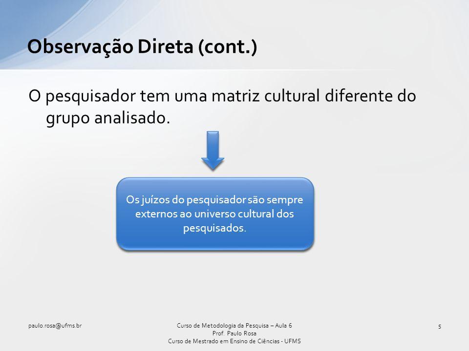 Observação Participante(cont.) – um exemplo paulo.rosa@ufms.br16Curso de Metodologia da Pesquisa – Aula 6 Prof.