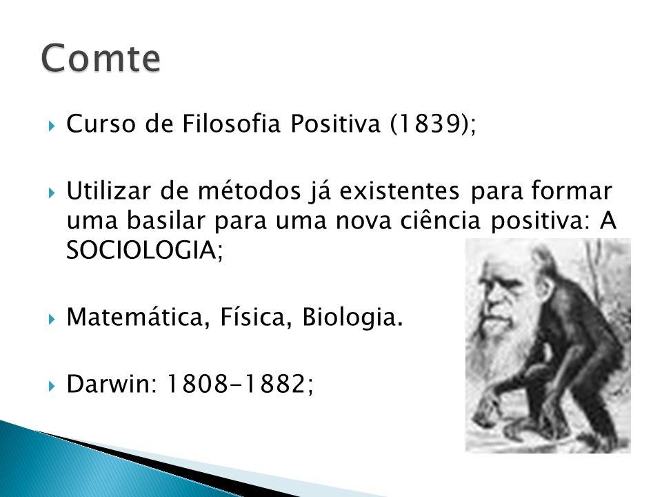Curso de Filosofia Positiva (1839); Utilizar de métodos já existentes para formar uma basilar para uma nova ciência positiva: A SOCIOLOGIA; Matemática, Física, Biologia.