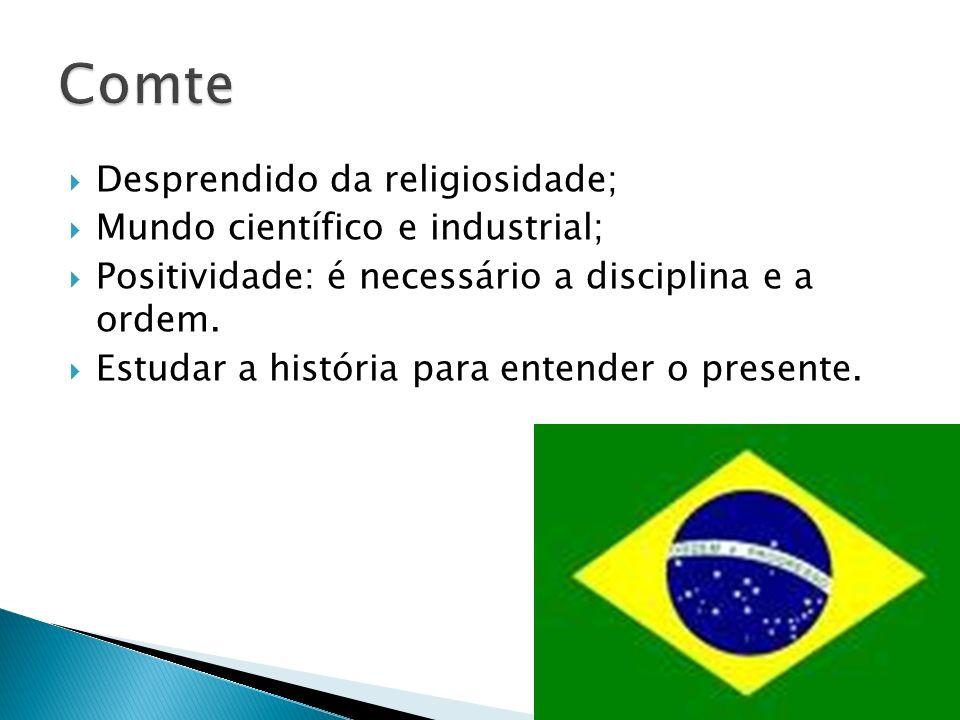 Desprendido da religiosidade; Mundo científico e industrial; Positividade: é necessário a disciplina e a ordem.