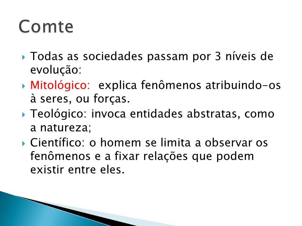 Sociologia como a nova ciência; O Amor por princípio; a ordem como base; o progresso por fim.