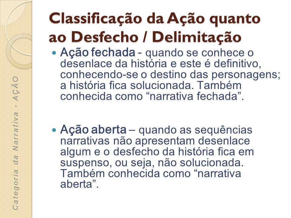 Classificação da Ação quanto ao Desfecho / Delimitação Ação fechada - quando se conhece o desenlace da história e este é definitivo, conhecendo-se o d