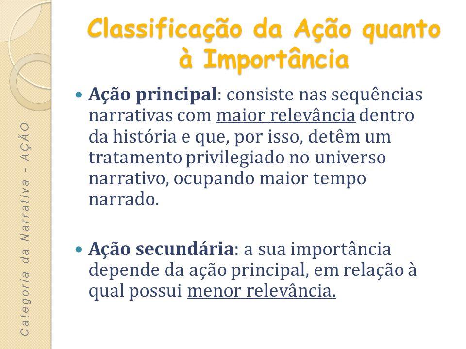Classificação da Ação quanto à Importância Ação principal: consiste nas sequências narrativas com maior relevância dentro da história e que, por isso,