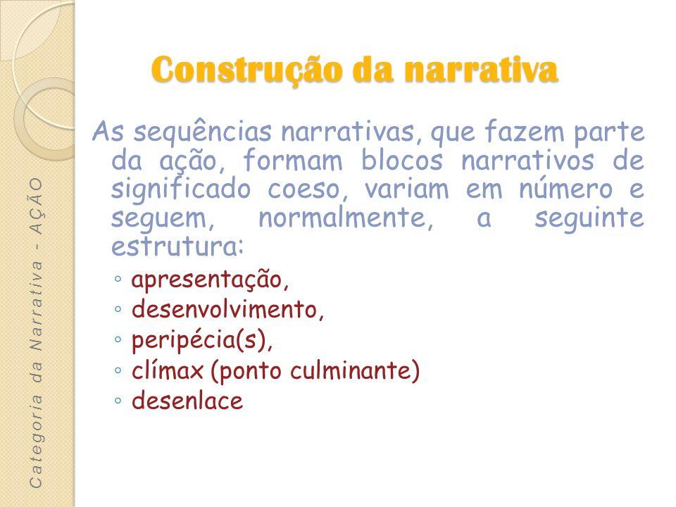 Construção da narrativa As sequências narrativas, que fazem parte da ação, formam blocos narrativos de significado coeso, variam em número e seguem, n