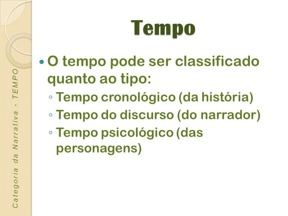 Tempo O tempo pode ser classificado quanto ao tipo: Tempo cronológico (da história) Tempo do discurso (do narrador) Tempo psicológico (das personagens