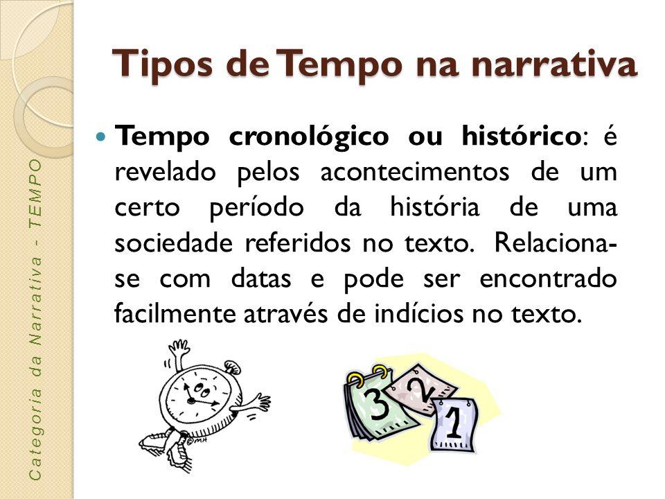 Tempo cronológico ou histórico: é revelado pelos acontecimentos de um certo período da história de uma sociedade referidos no texto. Relaciona- se com