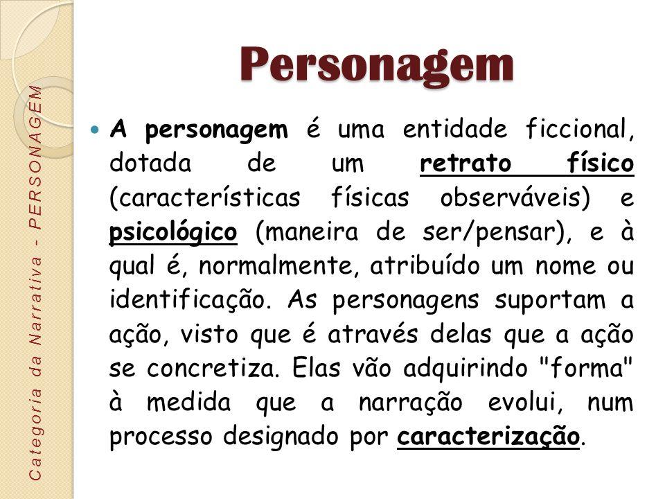 Personagem A personagem é uma entidade ficcional, dotada de um retrato físico (características físicas observáveis) e psicológico (maneira de ser/pens