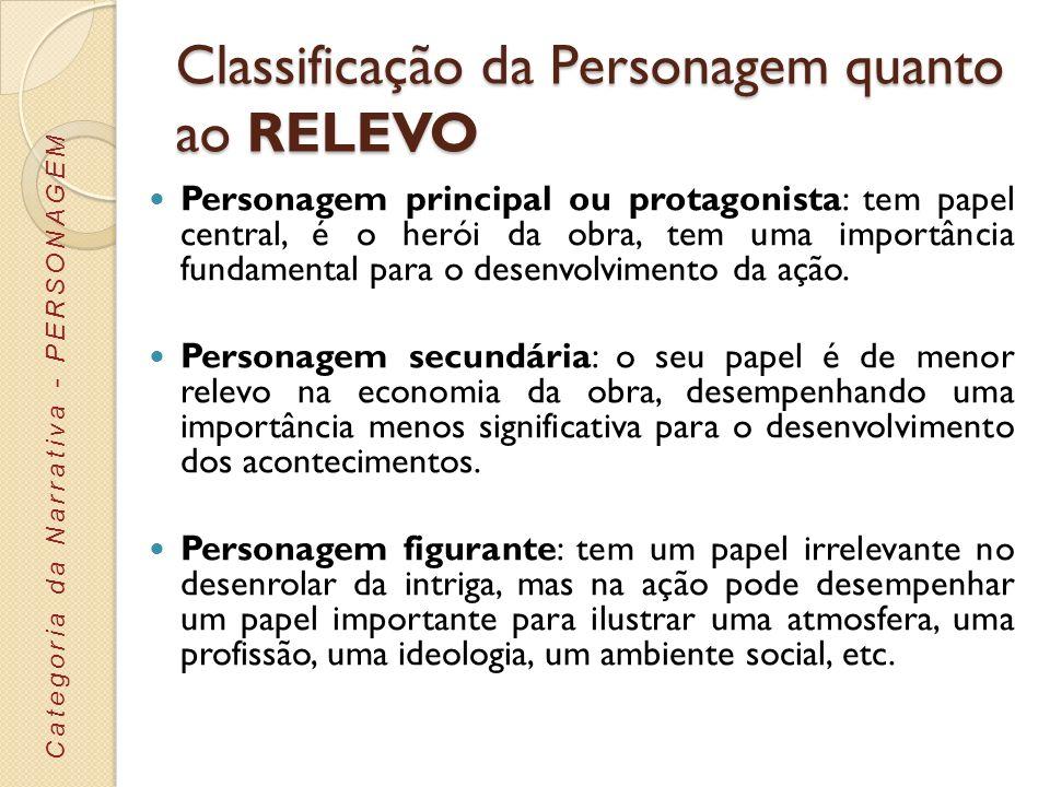 Classificação da Personagem quanto ao RELEVO Personagem principal ou protagonista: tem papel central, é o herói da obra, tem uma importância fundament
