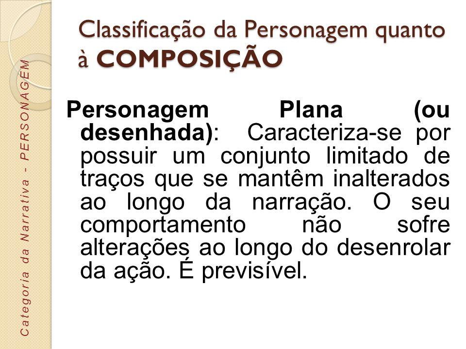 Classificação da Personagem quanto à COMPOSIÇÃO Personagem Plana (ou desenhada): Caracteriza-se por possuir um conjunto limitado de traços que se mant