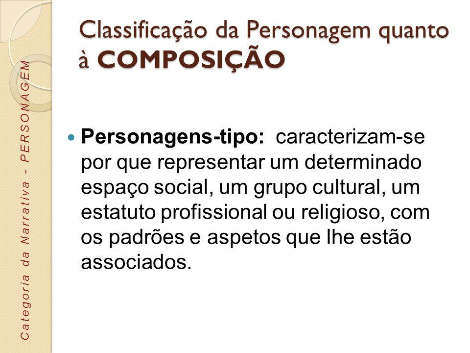 Classificação da Personagem quanto à COMPOSIÇÃO Personagens-tipo: caracterizam-se por que representar um determinado espaço social, um grupo cultural,