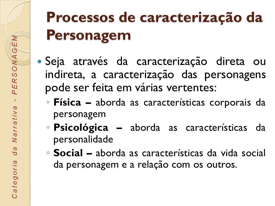 Processos de caracterização da Personagem Seja através da caracterização direta ou indireta, a caracterização das personagens pode ser feita em várias