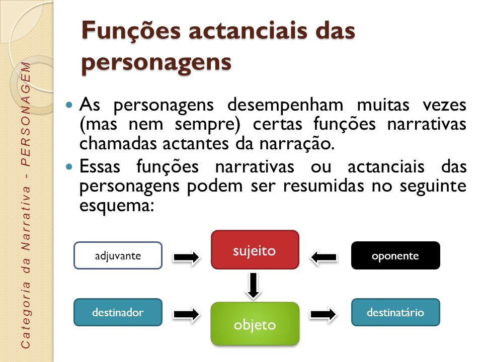 Funções actanciais das personagens As personagens desempenham muitas vezes (mas nem sempre) certas funções narrativas chamadas actantes da narração. E