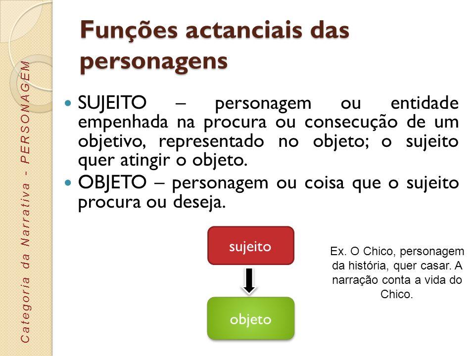 Funções actanciais das personagens SUJEITO – personagem ou entidade empenhada na procura ou consecução de um objetivo, representado no objeto; o sujei