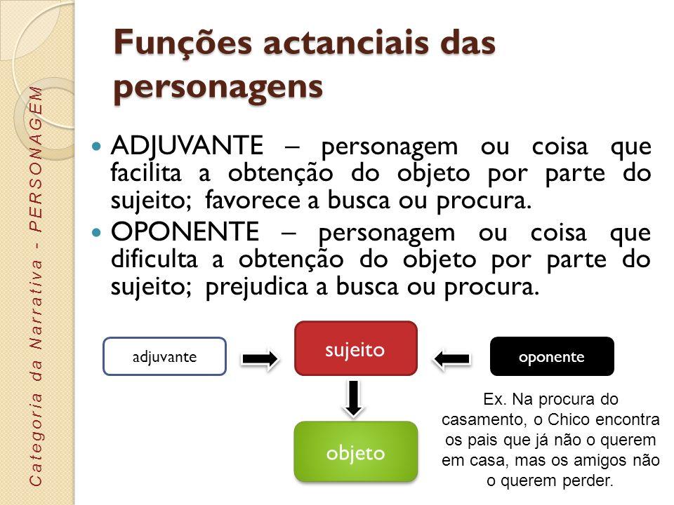 Funções actanciais das personagens ADJUVANTE – personagem ou coisa que facilita a obtenção do objeto por parte do sujeito; favorece a busca ou procura