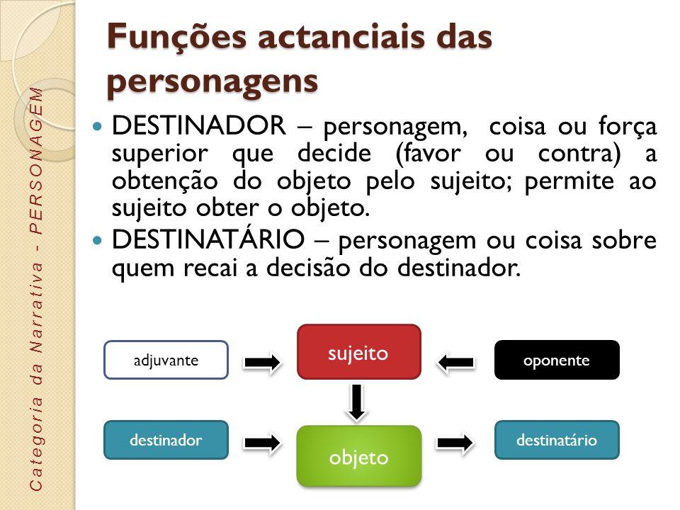 Funções actanciais das personagens DESTINADOR – personagem, coisa ou força superior que decide (favor ou contra) a obtenção do objeto pelo sujeito; pe