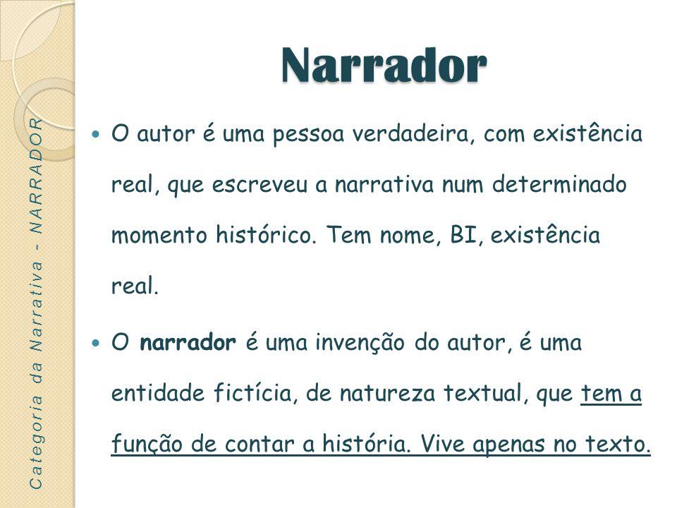 Narrador O autor é uma pessoa verdadeira, com existência real, que escreveu a narrativa num determinado momento histórico. Tem nome, BI, existência re