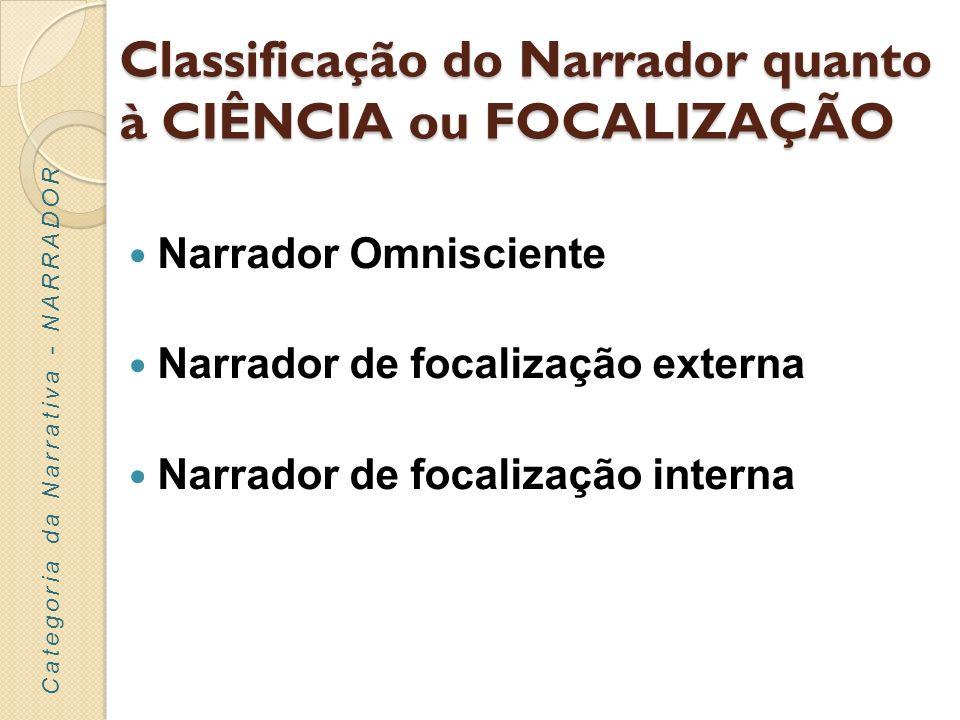 Classificação do Narrador quanto à CIÊNCIA ou FOCALIZAÇÃO Narrador Omnisciente Narrador de focalização externa Narrador de focalização interna Categor