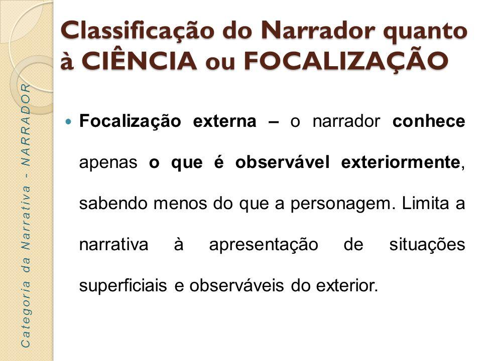 Classificação do Narrador quanto à CIÊNCIA ou FOCALIZAÇÃO Focalização externa – o narrador conhece apenas o que é observável exteriormente, sabendo me