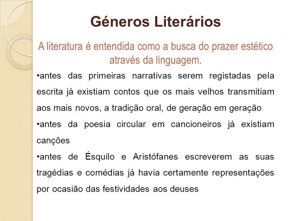 Géneros Literários A literatura é entendida como a busca do prazer estético através da linguagem. antes das primeiras narrativas serem registadas pela