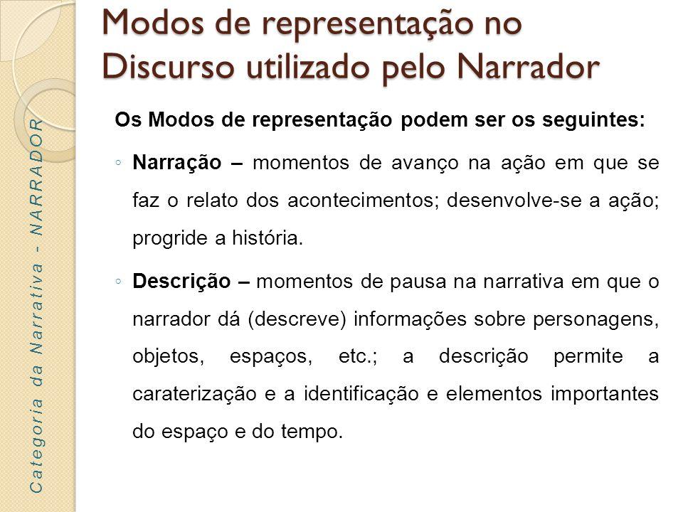 Modos de representação no Discurso utilizado pelo Narrador Os Modos de representação podem ser os seguintes: Narração – momentos de avanço na ação em