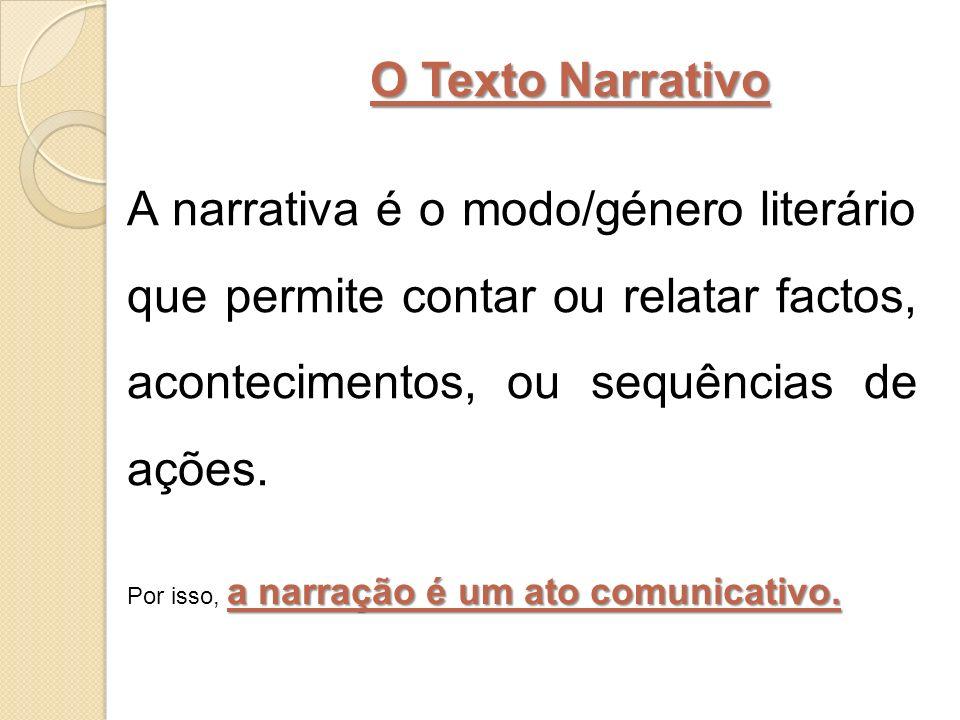 O Texto Narrativo A narrativa é o modo/género literário que permite contar ou relatar factos, acontecimentos, ou sequências de ações. a narração é um