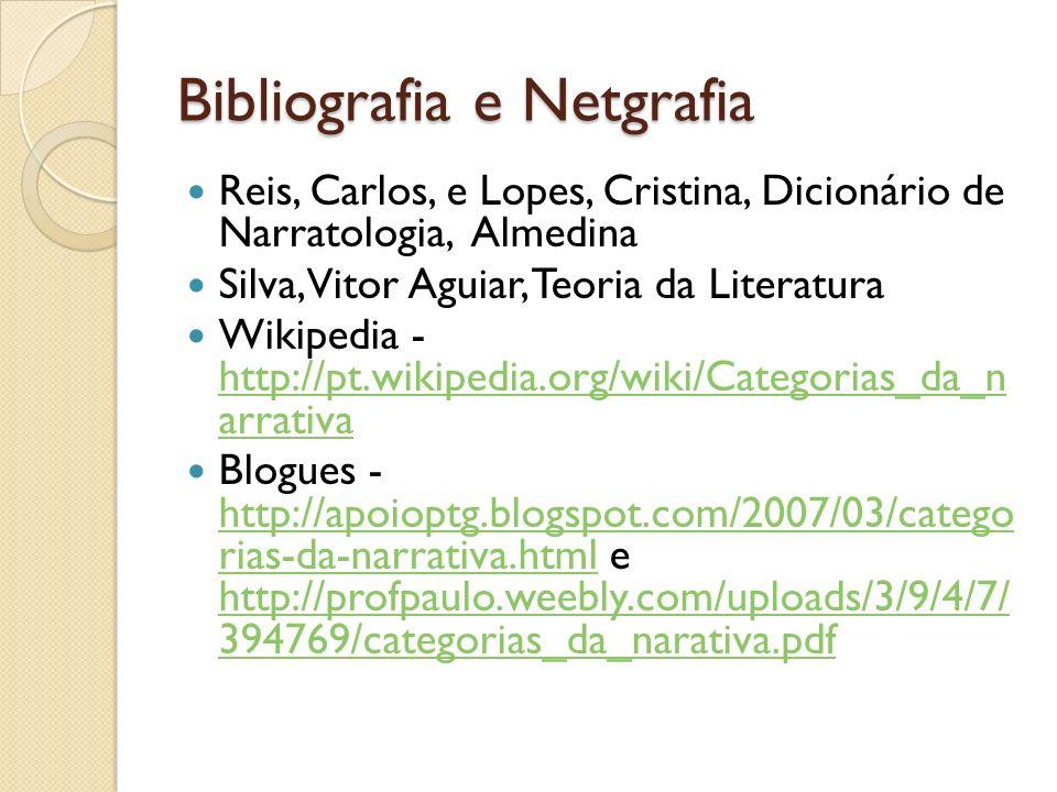 Bibliografia e Netgrafia Reis, Carlos, e Lopes, Cristina, Dicionário de Narratologia, Almedina Silva, Vitor Aguiar, Teoria da Literatura Wikipedia - h
