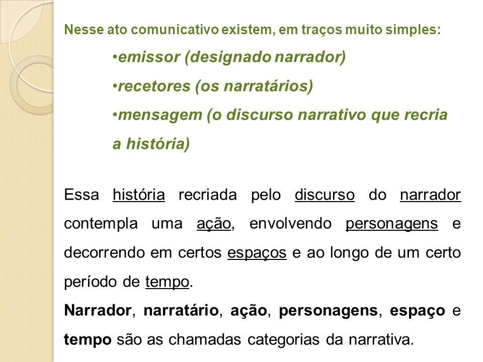 Nesse ato comunicativo existem, em traços muito simples: emissor (designado narrador) recetores (os narratários) mensagem (o discurso narrativo que re