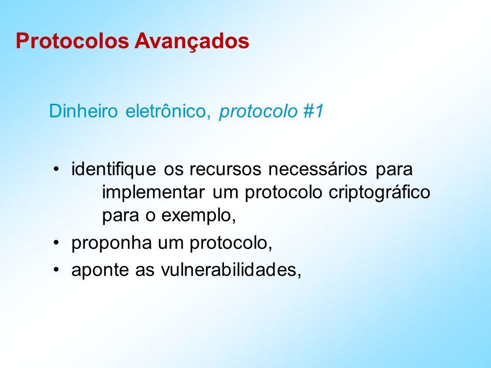 Protocolos Avançados identifique os recursos necessários para implementar um protocolo criptográfico para o exemplo, proponha um protocolo, aponte as