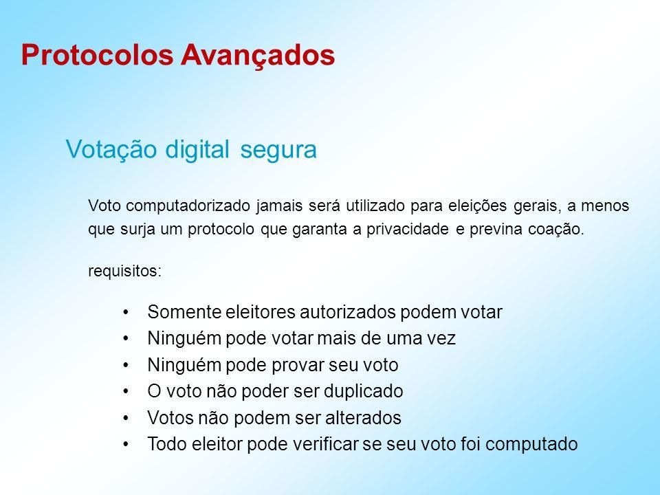 Protocolos Avançados Votação digital segura Voto computadorizado jamais será utilizado para eleições gerais, a menos que surja um protocolo que garant