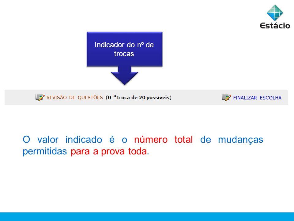 Indicador do nº de trocas O valor indicado é o número total de mudanças permitidas para a prova toda.