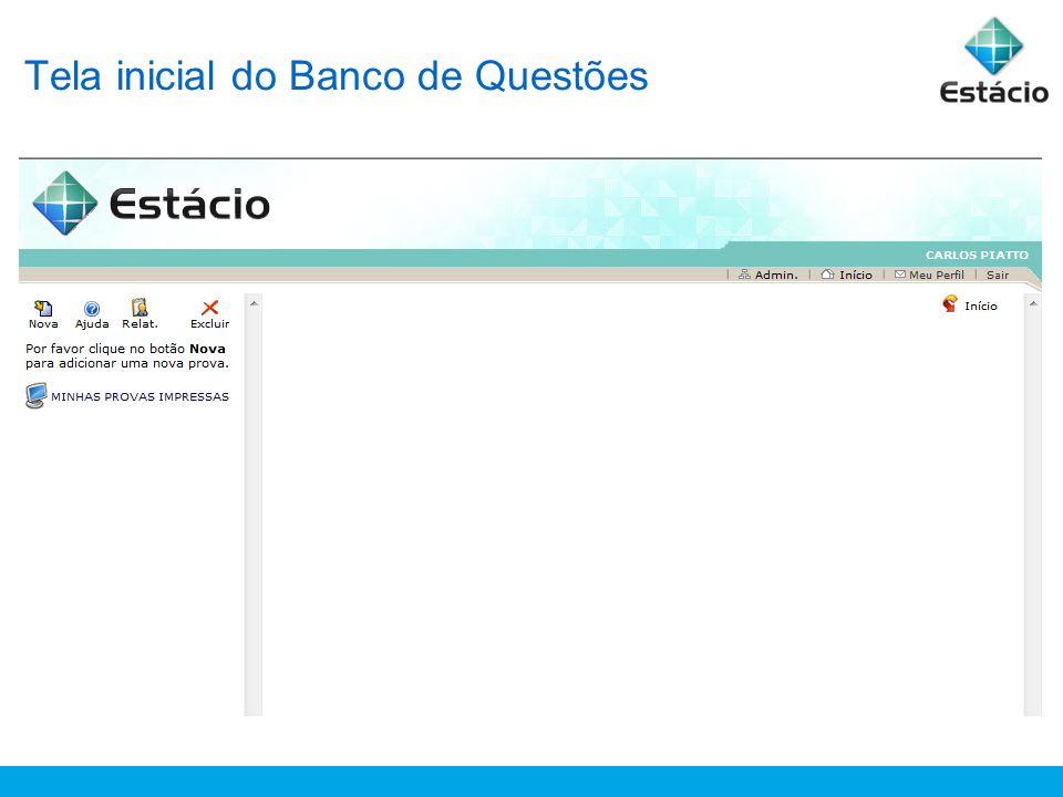 Tela inicial do Banco de Questões
