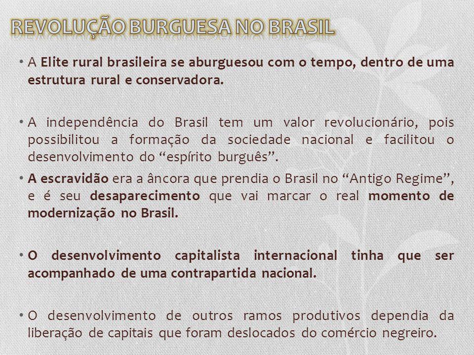 A Elite rural brasileira se aburguesou com o tempo, dentro de uma estrutura rural e conservadora. A independência do Brasil tem um valor revolucionári
