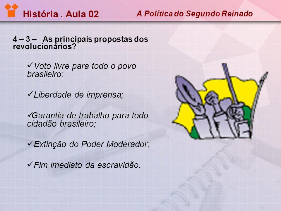 História.Aula 02 A Política do Segundo Reinado 4 – 4 – Como reagiu o governo imperial .