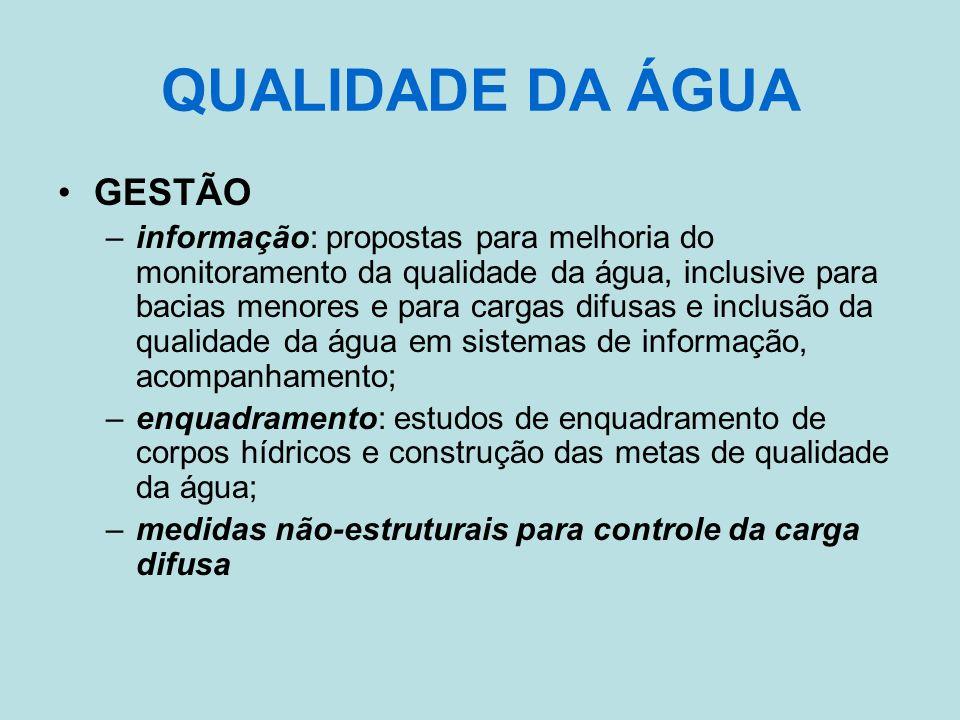 QUALIDADE DA ÁGUA GESTÃO –informação: propostas para melhoria do monitoramento da qualidade da água, inclusive para bacias menores e para cargas difus