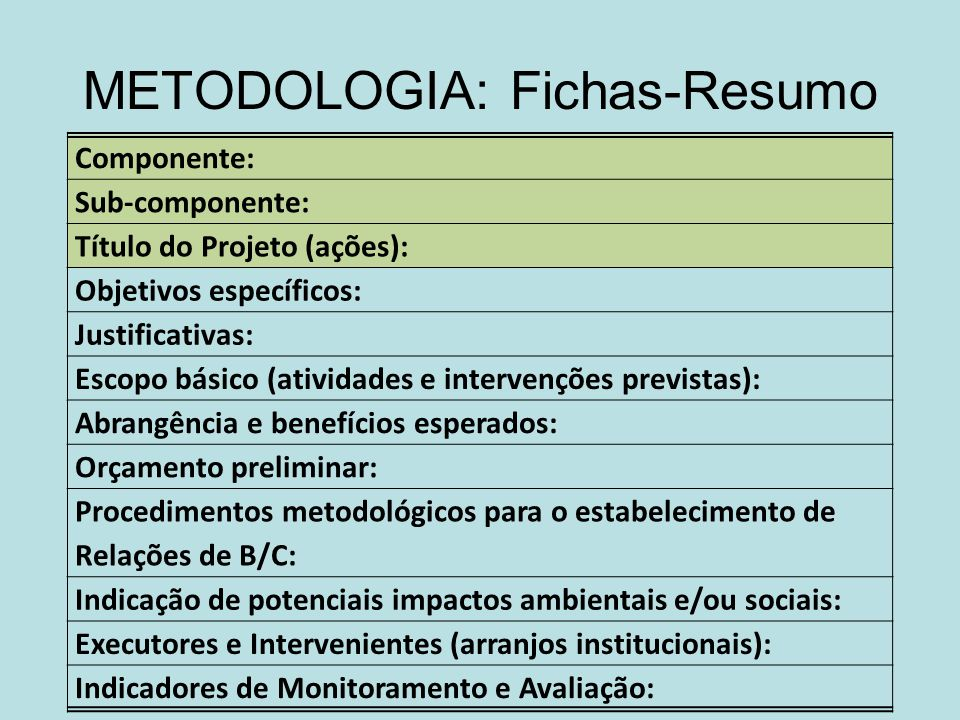 METODOLOGIA: Fichas-Resumo Componente: Sub-componente: Título do Projeto (ações): Objetivos específicos: Justificativas: Escopo básico (atividades e i