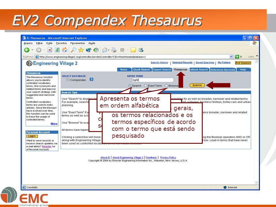 EV2 Compendex Thesaurus Apresenta os termos do vocabulário controlado que contenha o termo que está sendo pesquisado. Apresenta os termos gerais, os t