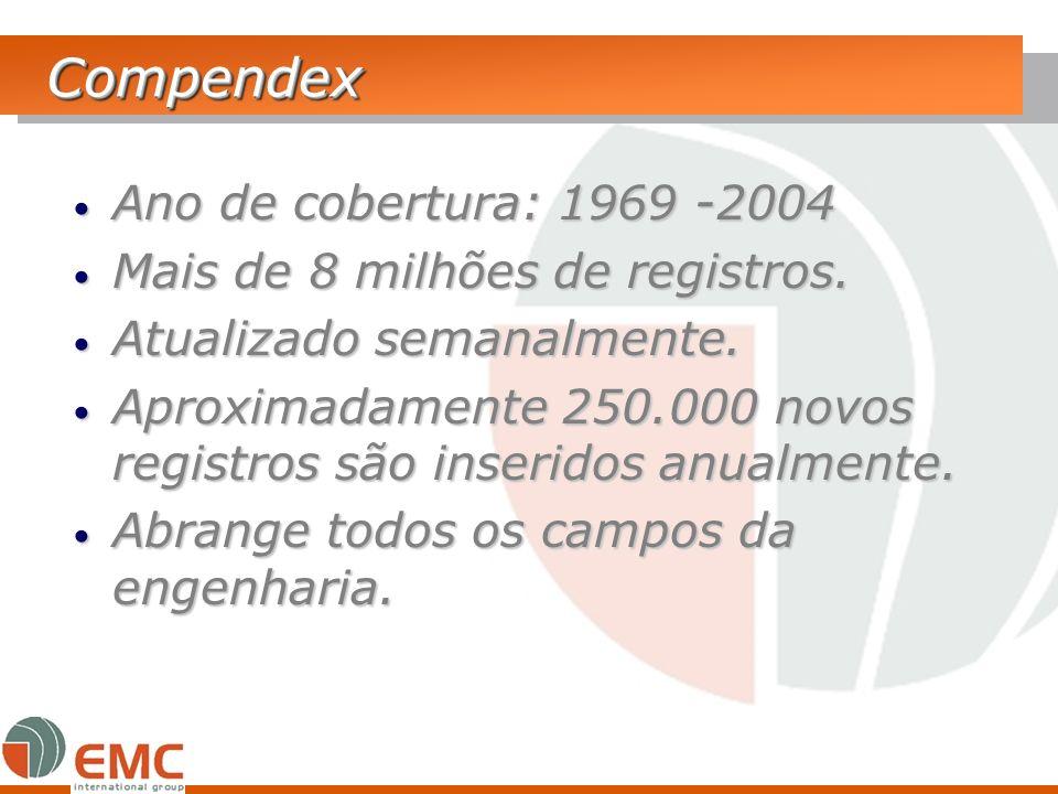 CompendexCompendex Ano de cobertura: 1969 -2004 Ano de cobertura: 1969 -2004 Mais de 8 milhões de registros. Mais de 8 milhões de registros. Atualizad