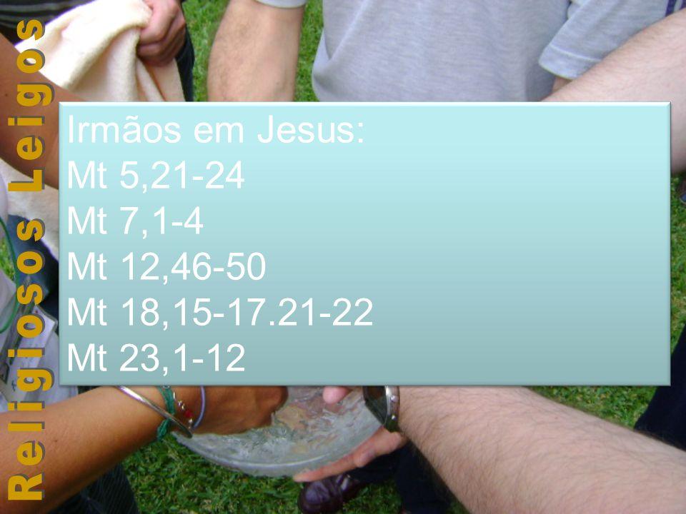Irmãos em Jesus: Mt 5,21-24 Mt 7,1-4 Mt 12,46-50 Mt 18,15-17.21-22 Mt 23,1-12 Irmãos em Jesus: Mt 5,21-24 Mt 7,1-4 Mt 12,46-50 Mt 18,15-17.21-22 Mt 23