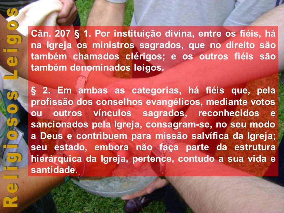 Cân. 207 § 1. Por instituição divina, entre os fiéis, há na Igreja os ministros sagrados, que no direito são também chamados clérigos; e os outros fié