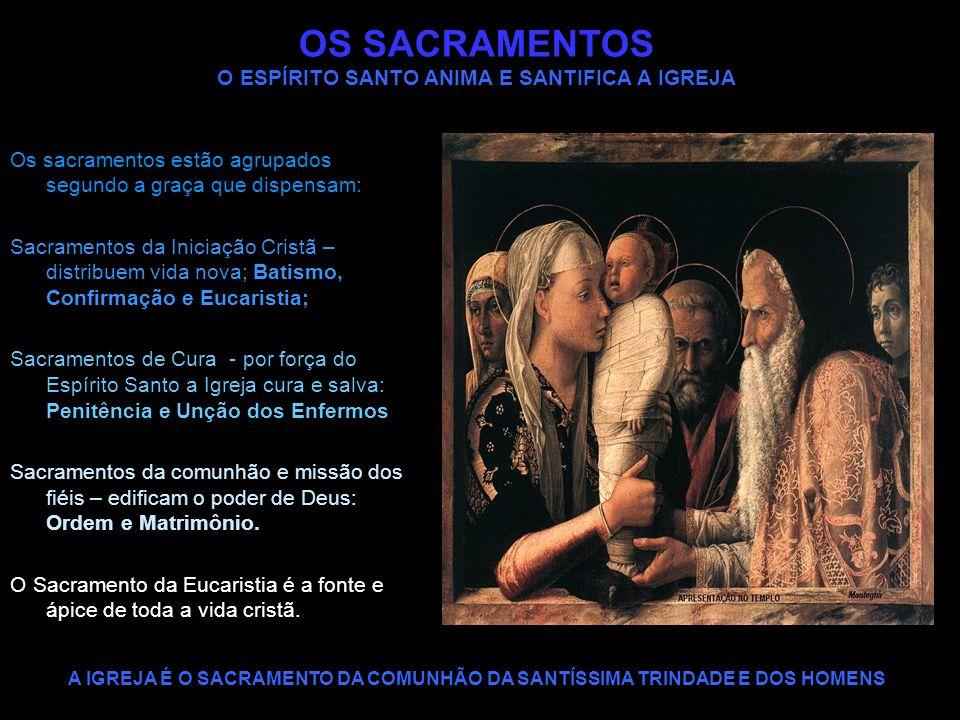 OS SACRAMENTOS O ESPÍRITO SANTO ANIMA E SANTIFICA A IGREJA Os sacramentos estão agrupados segundo a graça que dispensam: Sacramentos da Iniciação Cris