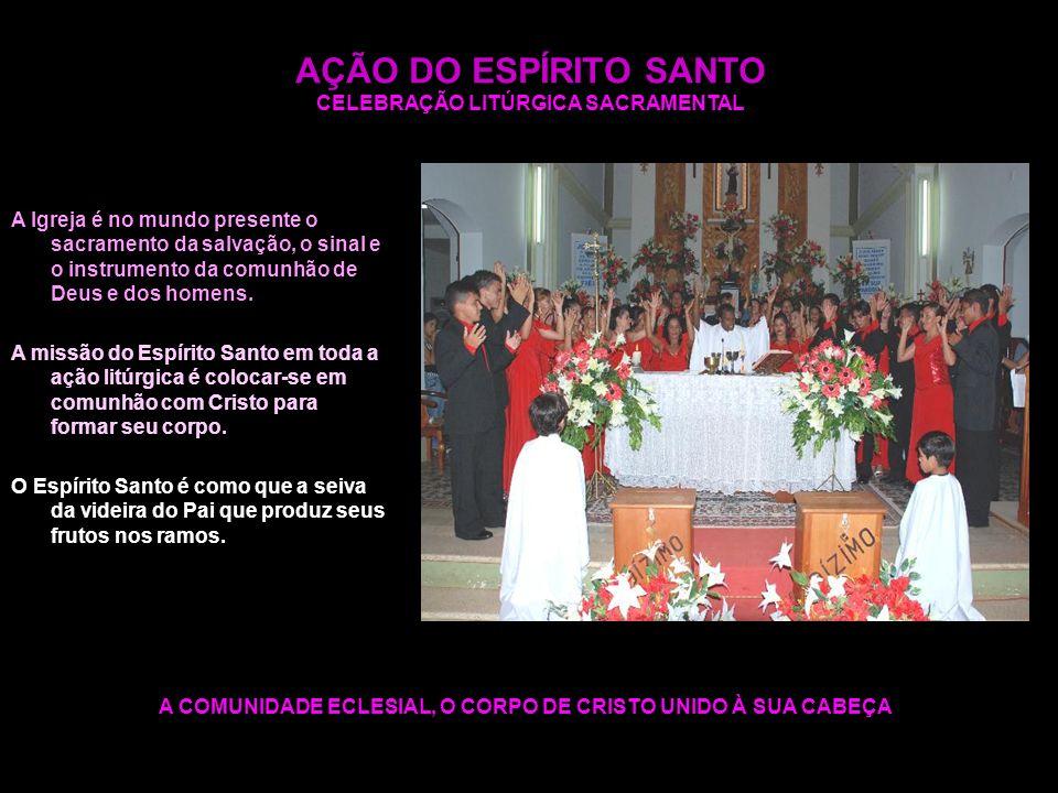 AÇÃO DO ESPÍRITO SANTO CELEBRAÇÃO LITÚRGICA SACRAMENTAL A COMUNIDADE ECLESIAL, O CORPO DE CRISTO UNIDO À SUA CABEÇA A Igreja é no mundo presente o sac