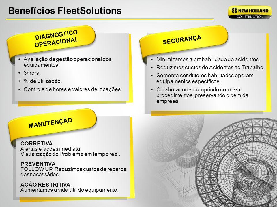 Benefícios FleetSolutions DIAGNOSTICO OPERACIONAL Avaliação da gestão operacional dos equipamentos: $/hora. % de utilização. Controle de horas e valor