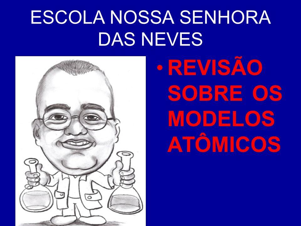 ESCOLA NOSSA SENHORA DAS NEVES PROFESSOR: DENIS VIEIRA DE OLIVEIRA. REVISÃO SOBRE OS MODELOS ATÔMICOS